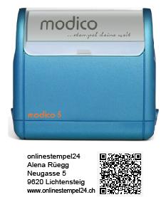 modico 5 blau QR 63x24mm